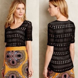 Anthropologie Wolven Lace knit top size M